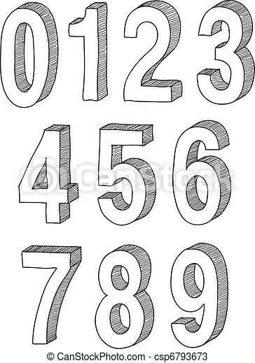 hand drawn 3d numbers  - csp6793673