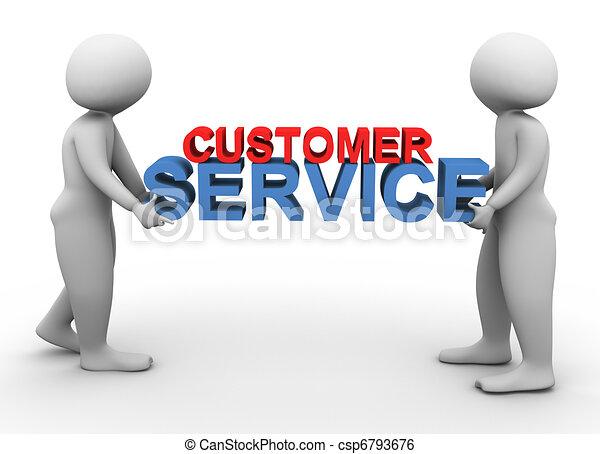 3d men holding customer service - csp6793676