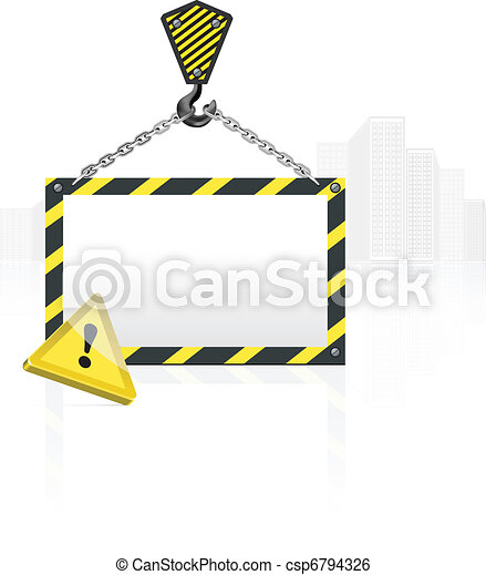 crane hook with blank poster - csp6794326