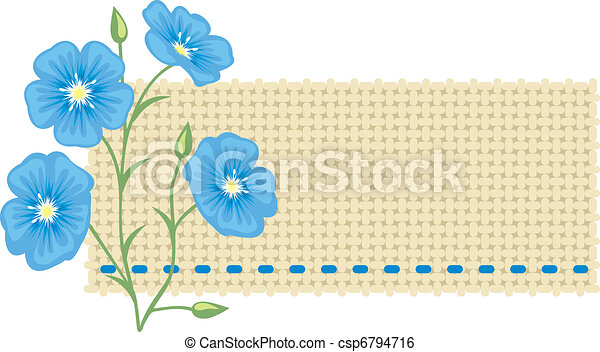 Flax flower and a piece of linen. - csp6794716