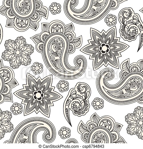 vector seamless paisley background, - csp6794843