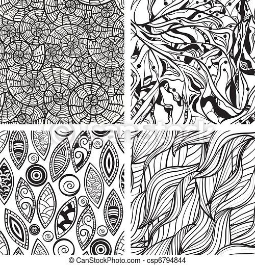 vector seamless abstract hand drawn monochrome patterns - csp6794844