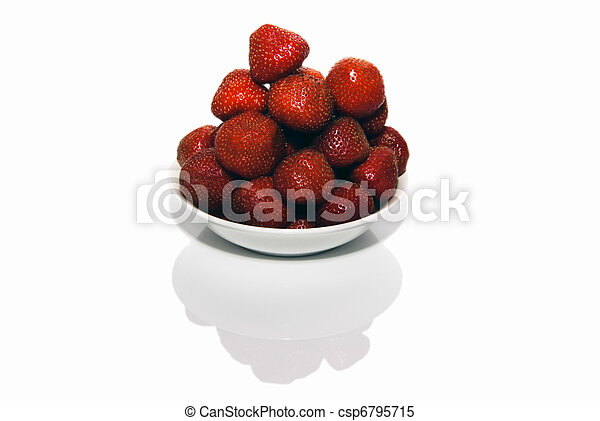 fresh red strawberries in white bowl isolated on white, nobody, mirror reflection, without leaves - csp6795715