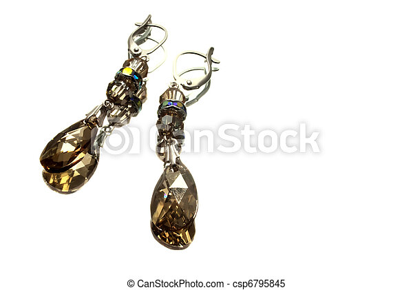 handmade silver earrings with yellow gemstones, isolated  - csp6795845