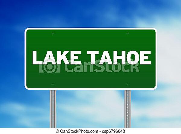 Lake Tahoe Highway Sign - csp6796048