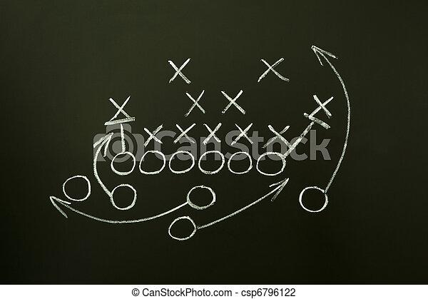 Game strategy drawn on blackboard - csp6796122
