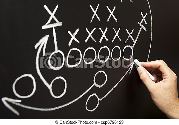Hand drawing a game strategy - csp6796123
