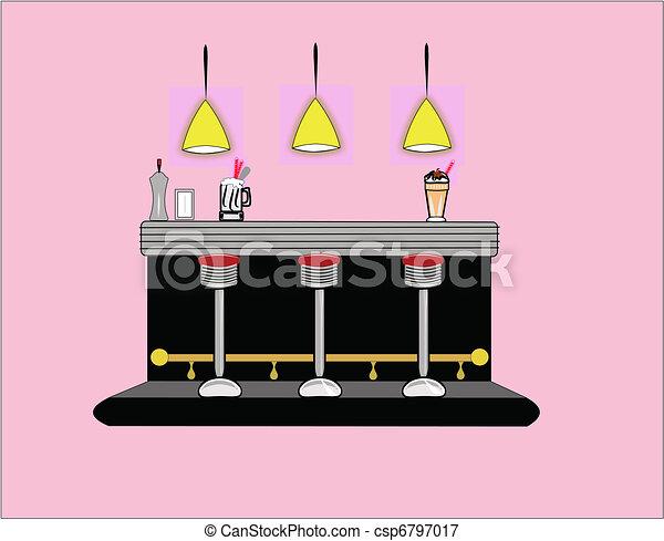 Vectors Illustration Of Interior Of 50 S Era Diner Diner