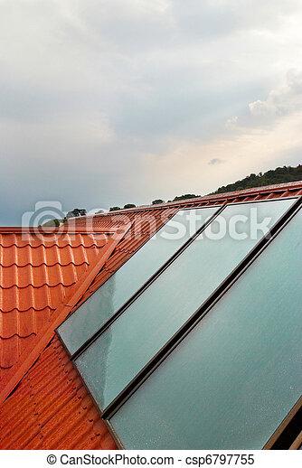 images de maison panneau geliosystem solaire toit solaire csp6797755 recherchez. Black Bedroom Furniture Sets. Home Design Ideas