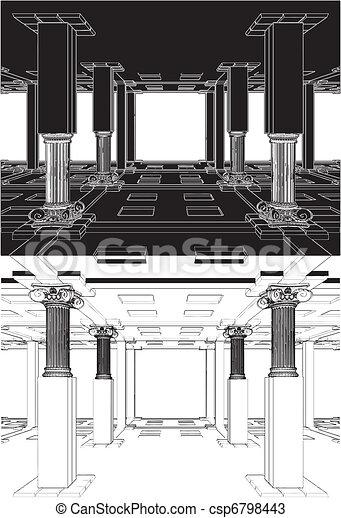 Abstract Interior Antique Columns - csp6798443