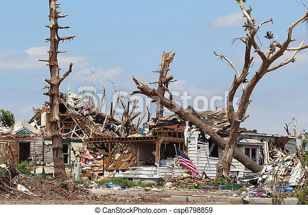 Tornado Damaged Home & Trees - csp6798859