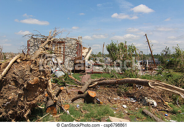 EF5 Tornado Damage Home & Trees - csp6798861