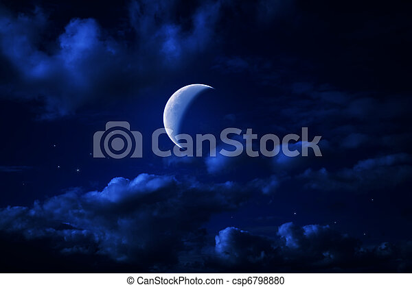 Night blue cloudy sky with stars and a moon - csp6798880