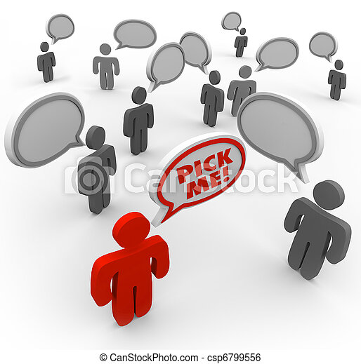 Pick Me - One Person Stands out as Best Choice in Crowd - csp6799556