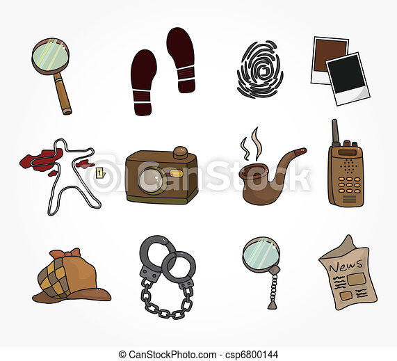 Cartoon detective equipment icon set - csp6800144