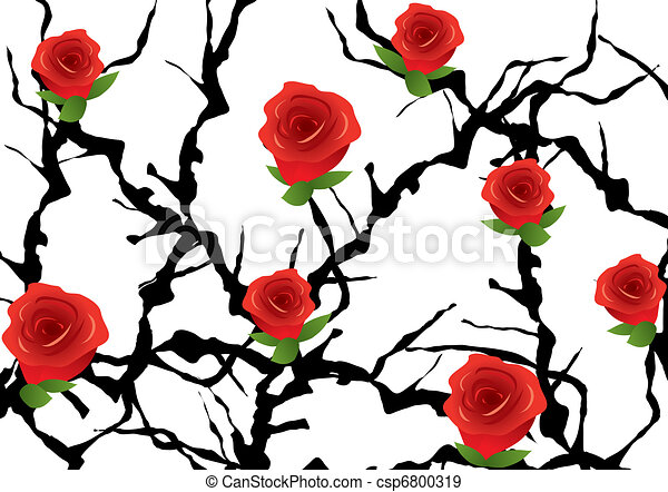 Rose Bushes Drawing Vector Blackthorn Bush With