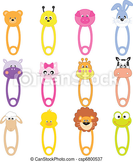 Animal Baby Safety Pins - csp6800537