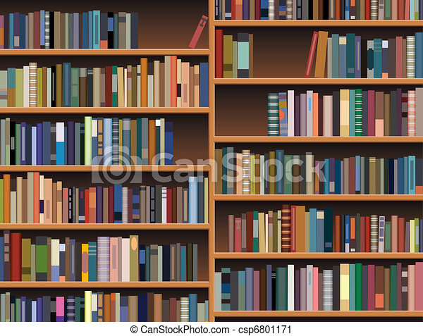 Vector Clip Art of vector wooden bookshelf - vector wooden bookshelf ...