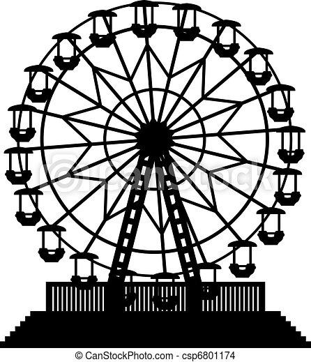 vector illustration of ferris wheel - csp6801174