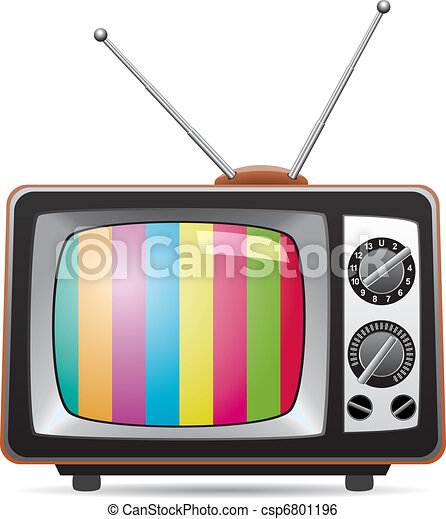 vector illustration of retro tv set  - csp6801196