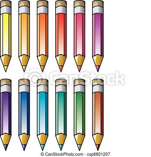 vector colourful pencils clipart  - csp6801207
