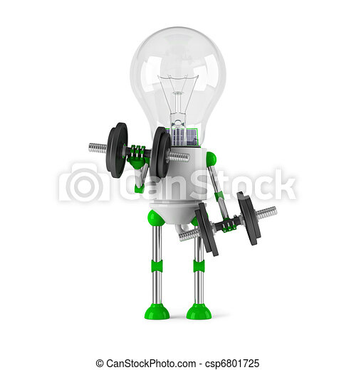 solar powered light bulb robot - fitness - csp6801725