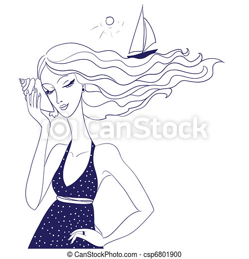 Portrait of a beautiful woman while holding and listening to a conch shell - csp6801900