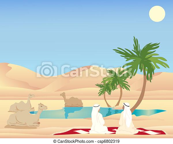 desert oasis drawing - photo #35