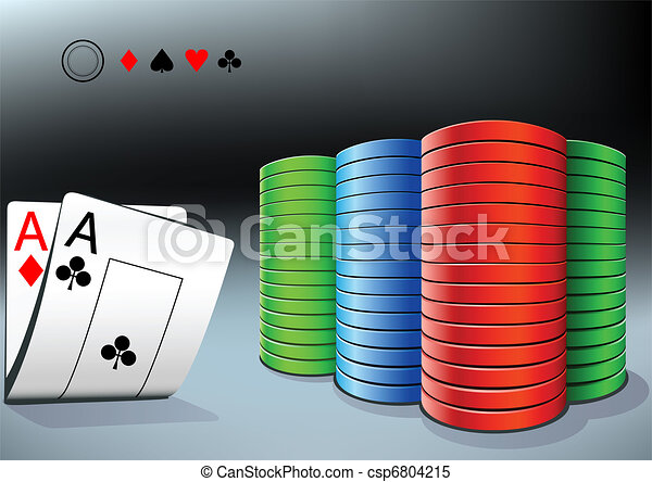 poker chips and two aces - csp6804215