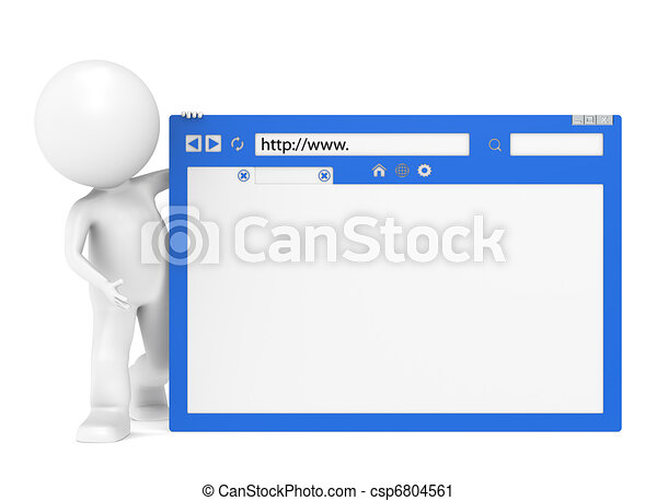 3D Little Human Character and a Browser Window - csp6804561