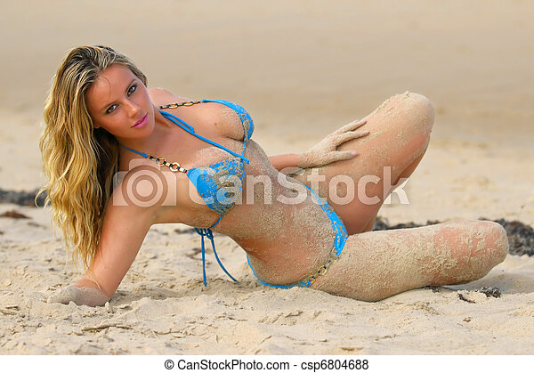 Beautiful beach bikini girl  - csp6804688