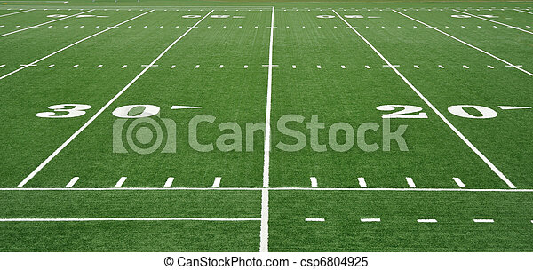Twenty and Thirty Yard Line on American Football Field - csp6804925