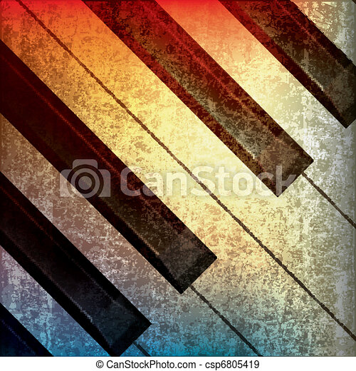 abstract grunge music background with piano - csp6805419