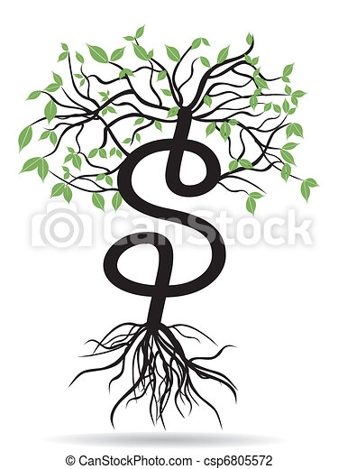 money tree-growing dollars - csp6805572