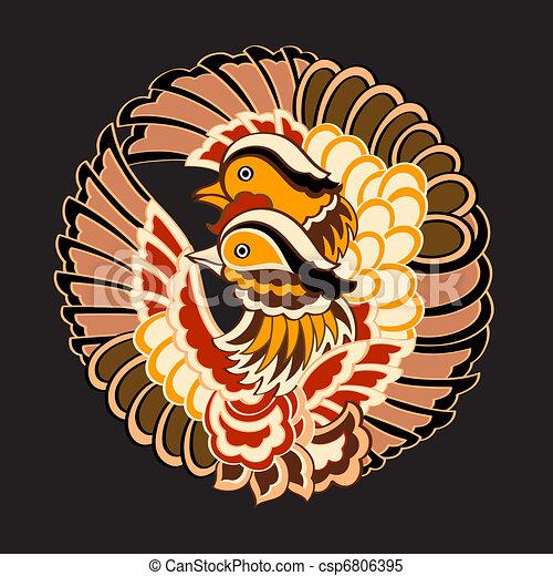 Japanese birds pattern - csp6806395