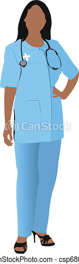 Nurse woman with white doctor`s sm - csp6807209