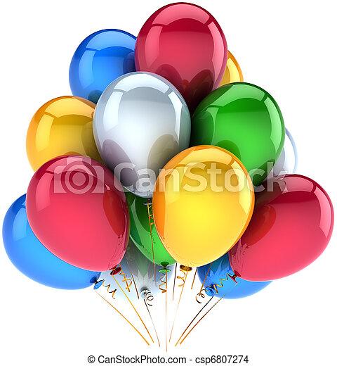 Happy birthday balloons decoration - csp6807274