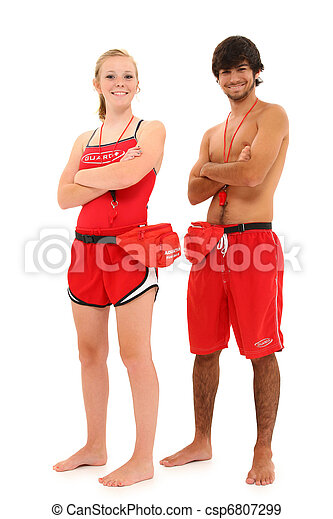 Boy and Girl Teenager Lifeguards in Uniform. - csp6807299
