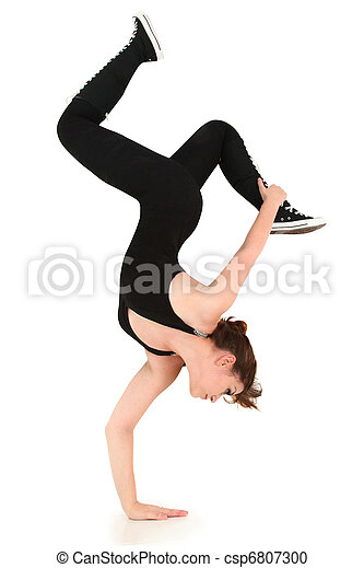Flexible Strong Teen Doing Handstand with - csp6807300