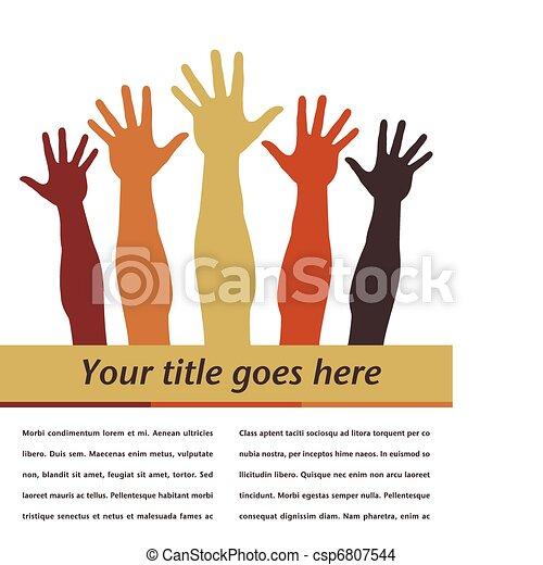 Reaching hands design. - csp6807544