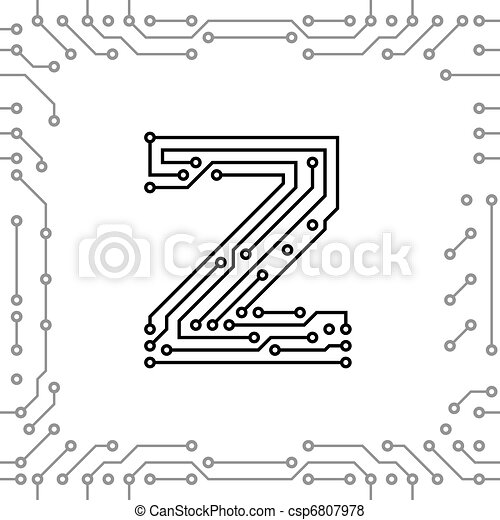 Vector of alphabet of printed circuit boards easy to edit for Small circuit boards