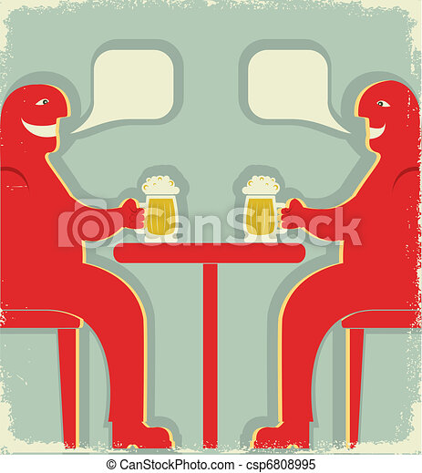 Two men with glasses of beer who  toast.Vintage Poster - csp6808995