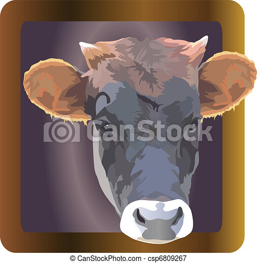 cow image of a pet in a frame - csp6809267