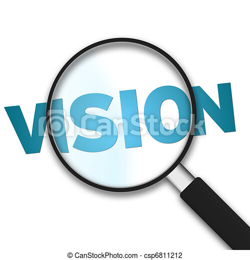 Magnifying Glass with the word vision on white background