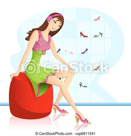 Lady in Footwear store - csp6811541