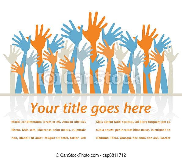 Crowd of happy hands. - csp6811712