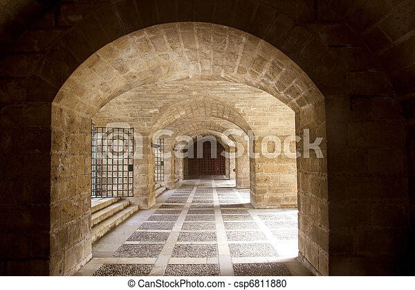 almudaina and Majorca Cathedral tunnel arches in Palma - csp6811880
