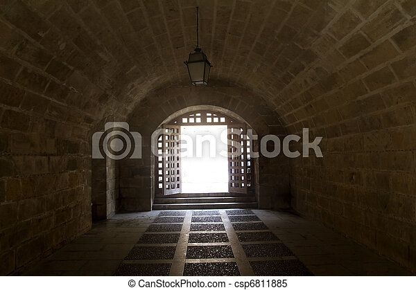 almudaina and Majorca Cathedral tunnel arches in Palma - csp6811885
