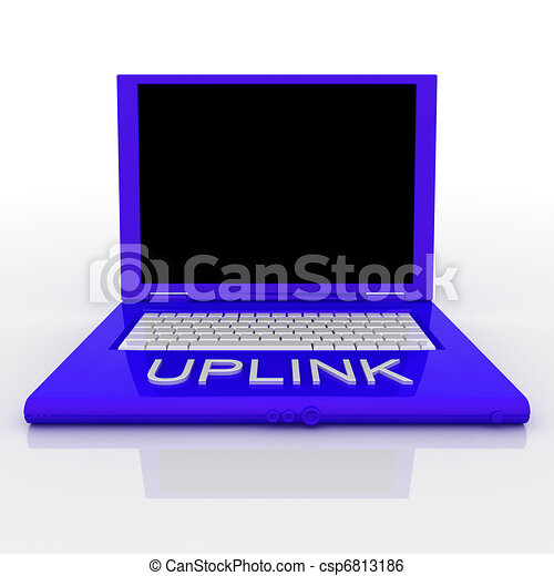 Laptop computer with word uplink on it - csp6813186