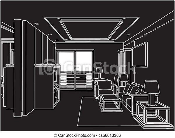 Modern Living Room - csp6813386